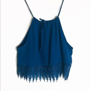 EUC UO Staring at Stars Blue Lace Trim Crop Top S